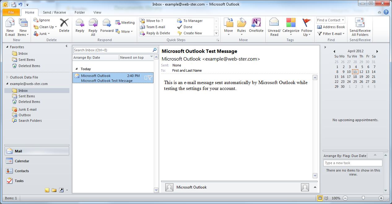 Outlook 2010 | Web-ster.com Northwest Internet Service